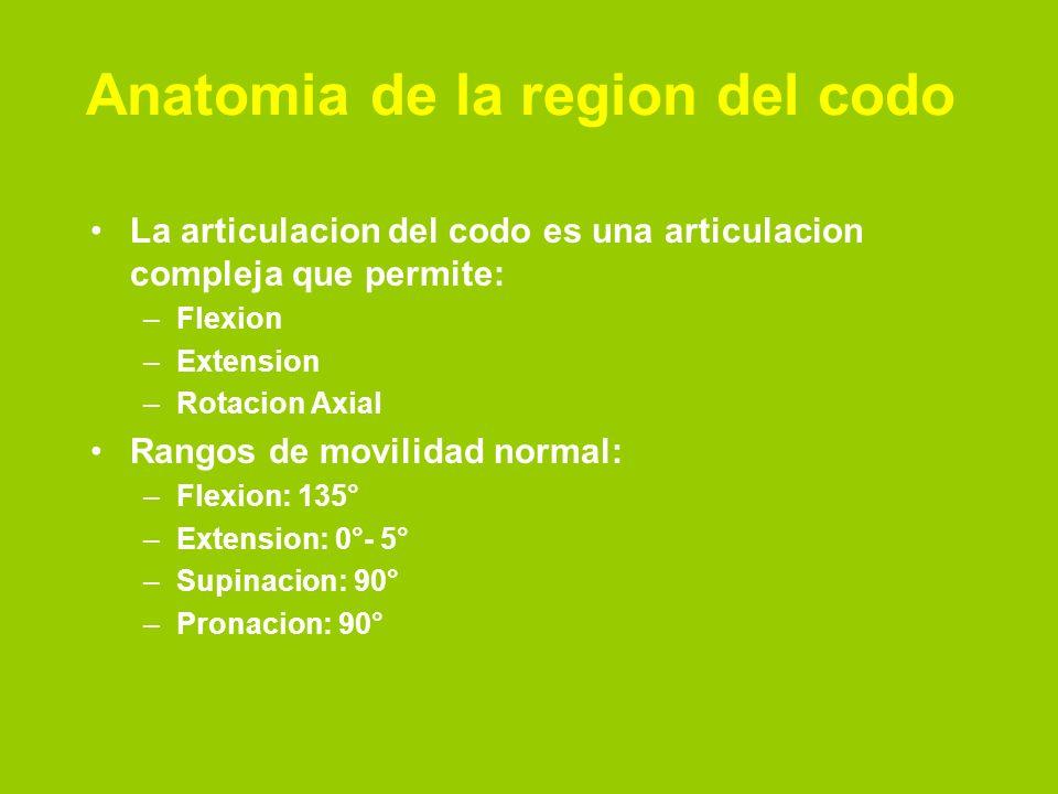 Anatomia de la region del codo La articulacion del codo es una articulacion compleja que permite: –Flexion –Extension –Rotacion Axial Rangos de movilidad normal: –Flexion: 135° –Extension: 0°- 5° –Supinacion: 90° –Pronacion: 90°