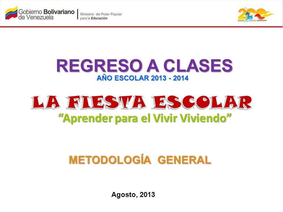 Aprender para el Vivir Viviendo REGRESO A CLASES AÑO ESCOLAR 2013 - 2014 METODOLOGÍA GENERAL Agosto, 2013