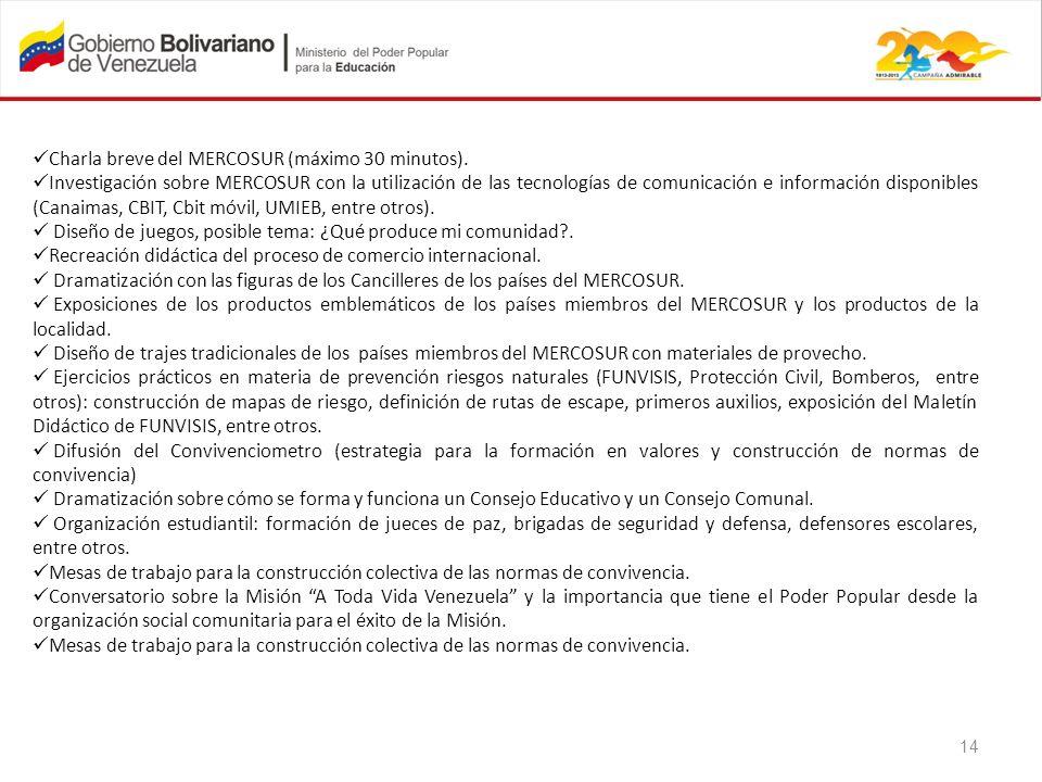 Charla breve del MERCOSUR (máximo 30 minutos). Investigación sobre MERCOSUR con la utilización de las tecnologías de comunicación e información dispon