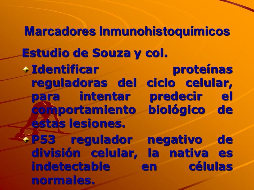 Marcadores Inmunohistoquímicos Estudio de Souza y col. Identificar proteínas reguladoras del ciclo celular, para intentar predecir el comportamiento b