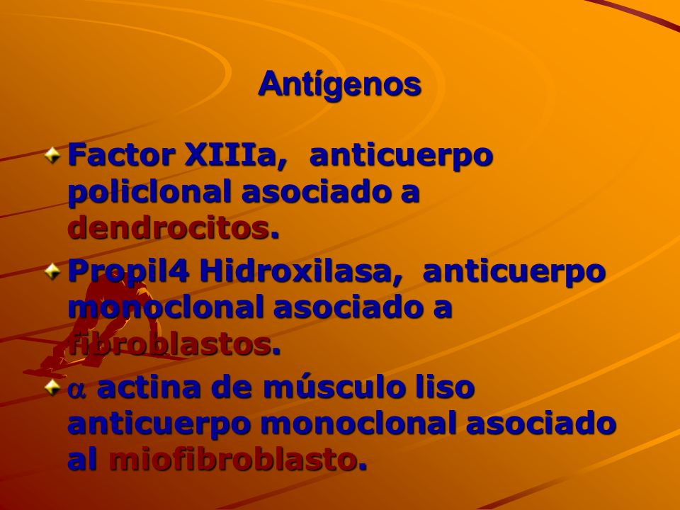 Antígenos Factor XIIIa, anticuerpo policlonal asociado a dendrocitos. Propil4 Hidroxilasa, anticuerpo monoclonal asociado a fibroblastos. actina de mú