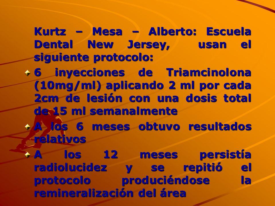 Kurtz – Mesa – Alberto: Escuela Dental New Jersey, usan el siguiente protocolo: 6 inyecciones de Triamcinolona (10mg/ml) aplicando 2 ml por cada 2cm d