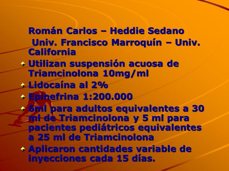 Román Carlos – Heddie Sedano Univ. Francisco Marroquín – Univ. California Univ. Francisco Marroquín – Univ. California Utilizan suspensión acuosa de T