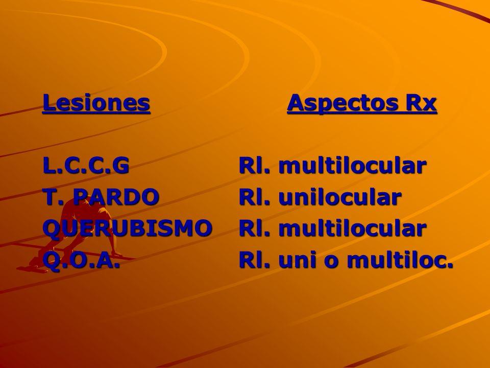 LesionesAspectos Rx L.C.C.GRl. multilocular T. PARDORl. unilocular QUERUBISMORl. multilocular Q.O.A.Rl. uni o multiloc.
