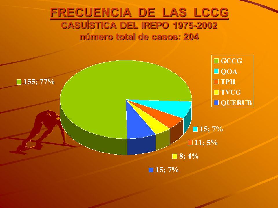 FRECUENCIA DE LAS LCCG CASUÍSTICA DEL IREPO 1975-2002 número total de casos: 204