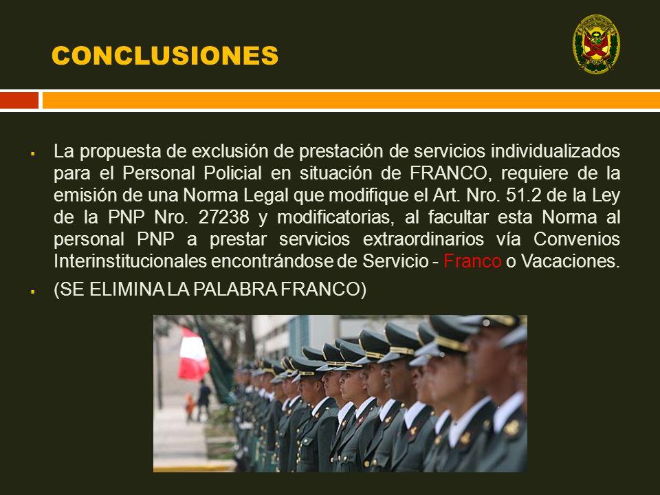 CONCLUSIONES La propuesta de exclusión de prestación de servicios individualizados para el Personal Policial en situación de FRANCO, requiere de la em