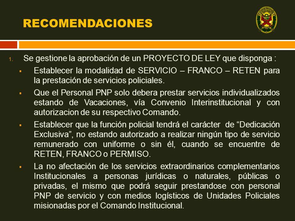 RECOMENDACIONES 1. Se gestione la aprobación de un PROYECTO DE LEY que disponga : Establecer la modalidad de SERVICIO – FRANCO – RETEN para la prestac