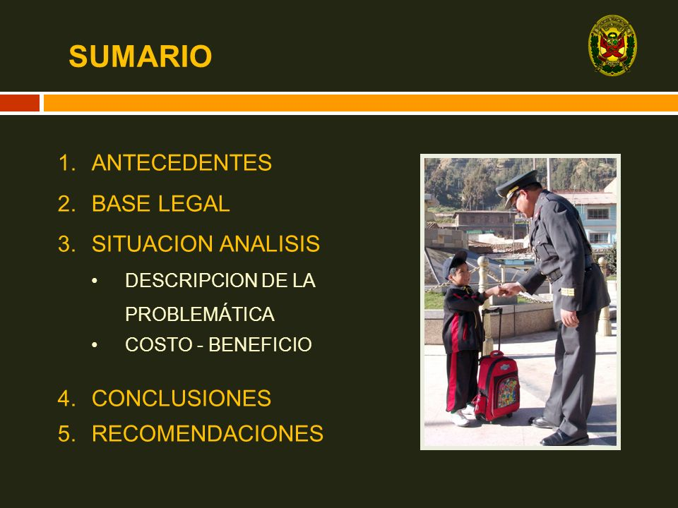 SUMARIO 1.ANTECEDENTES 2.BASE LEGAL 3.SITUACION ANALISIS DESCRIPCION DE LA PROBLEMÁTICA COSTO - BENEFICIO 4.CONCLUSIONES 5.RECOMENDACIONES