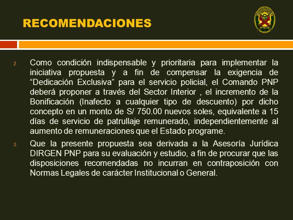 RECOMENDACIONES 2. Como condición indispensable y prioritaria para implementar la iniciativa propuesta y a fin de compensar la exigencia de Dedicación