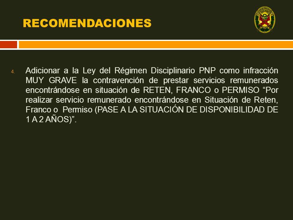 RECOMENDACIONES 4. Adicionar a la Ley del Régimen Disciplinario PNP como infracción MUY GRAVE la contravención de prestar servicios remunerados encont