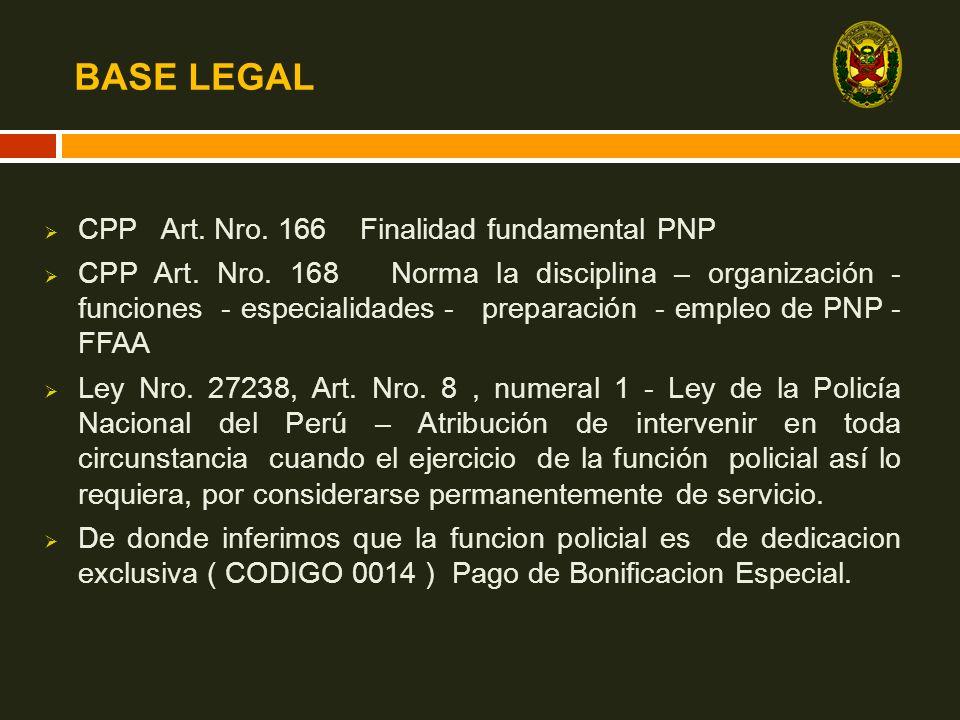 BASE LEGAL CPP Art. Nro. 166 Finalidad fundamental PNP CPP Art. Nro. 168 Norma la disciplina – organización - funciones - especialidades - preparación