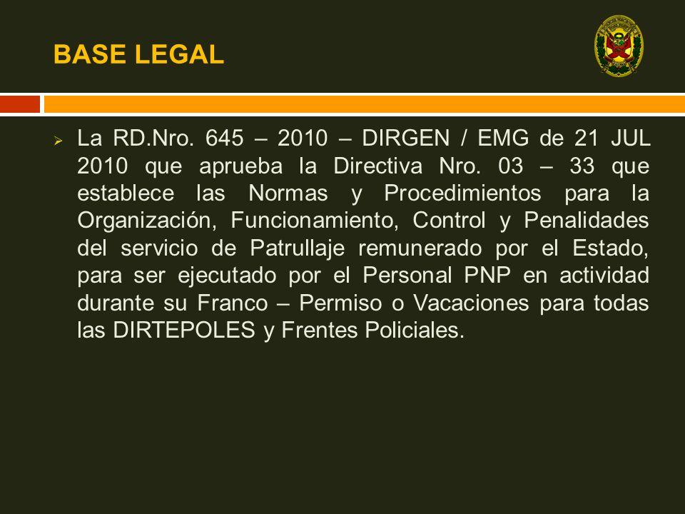 BASE LEGAL La RD.Nro. 645 – 2010 – DIRGEN / EMG de 21 JUL 2010 que aprueba la Directiva Nro. 03 – 33 que establece las Normas y Procedimientos para la