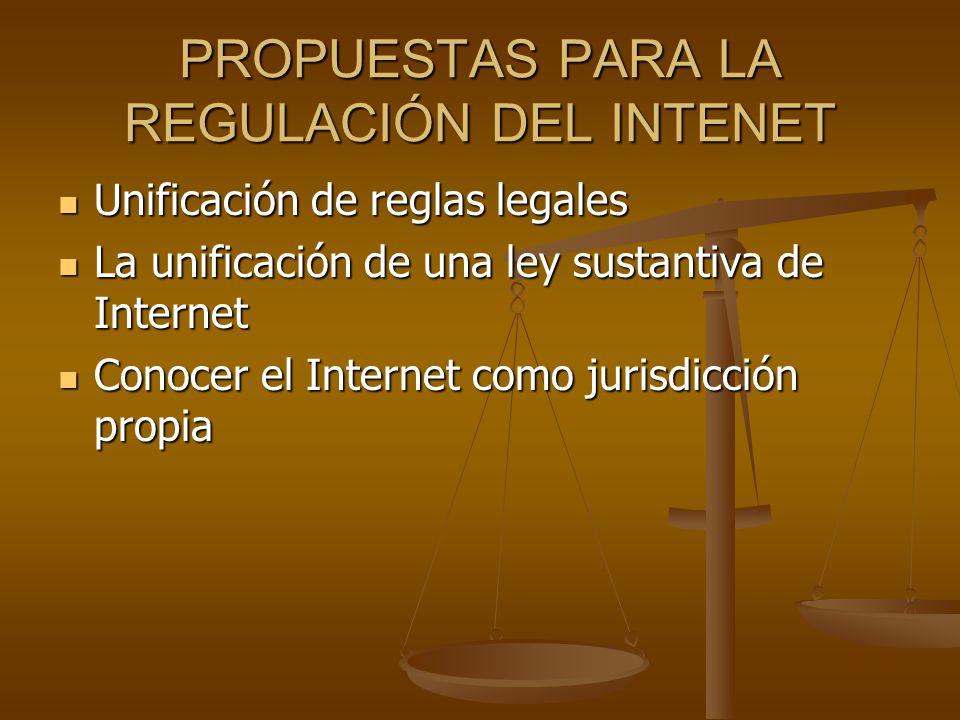 PROPUESTAS PARA LA REGULACIÓN DEL INTENET Unificación de reglas legales Unificación de reglas legales La unificación de una ley sustantiva de Internet