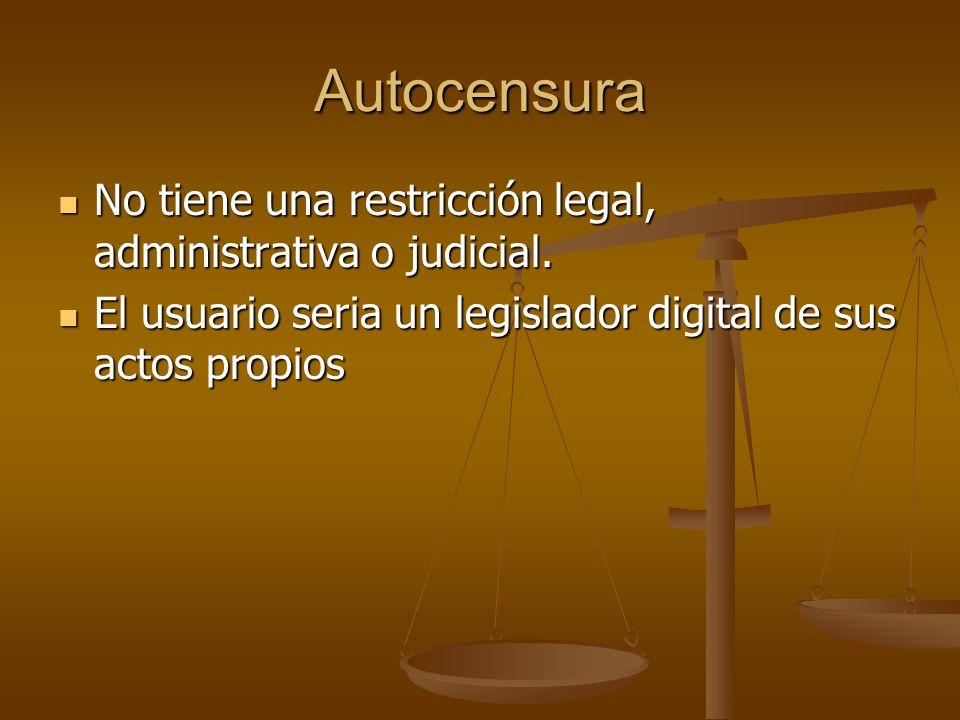 Autocensura No tiene una restricción legal, administrativa o judicial. No tiene una restricción legal, administrativa o judicial. El usuario seria un