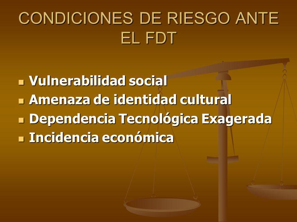 CONDICIONES DE RIESGO ANTE EL FDT Vulnerabilidad social Vulnerabilidad social Amenaza de identidad cultural Amenaza de identidad cultural Dependencia