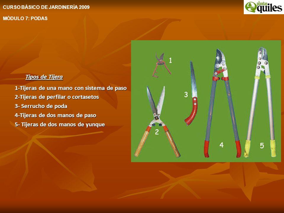 Tipos de Tijera 1-Tijeras de una mano con sistema de paso 2-Tijeras de perfilar o cortasetos 3- Serrucho de poda 4-Tijeras de dos manos de paso 5- Tij