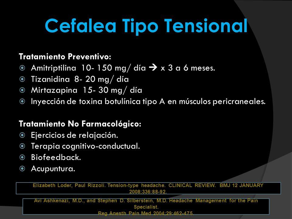 Cefalea Tipo Tensional Tratamiento Preventivo: Amitriptilina 10- 150 mg/ día x 3 a 6 meses. Tizanidina 8- 20 mg/ día Mirtazapina 15- 30 mg/ día Inyecc