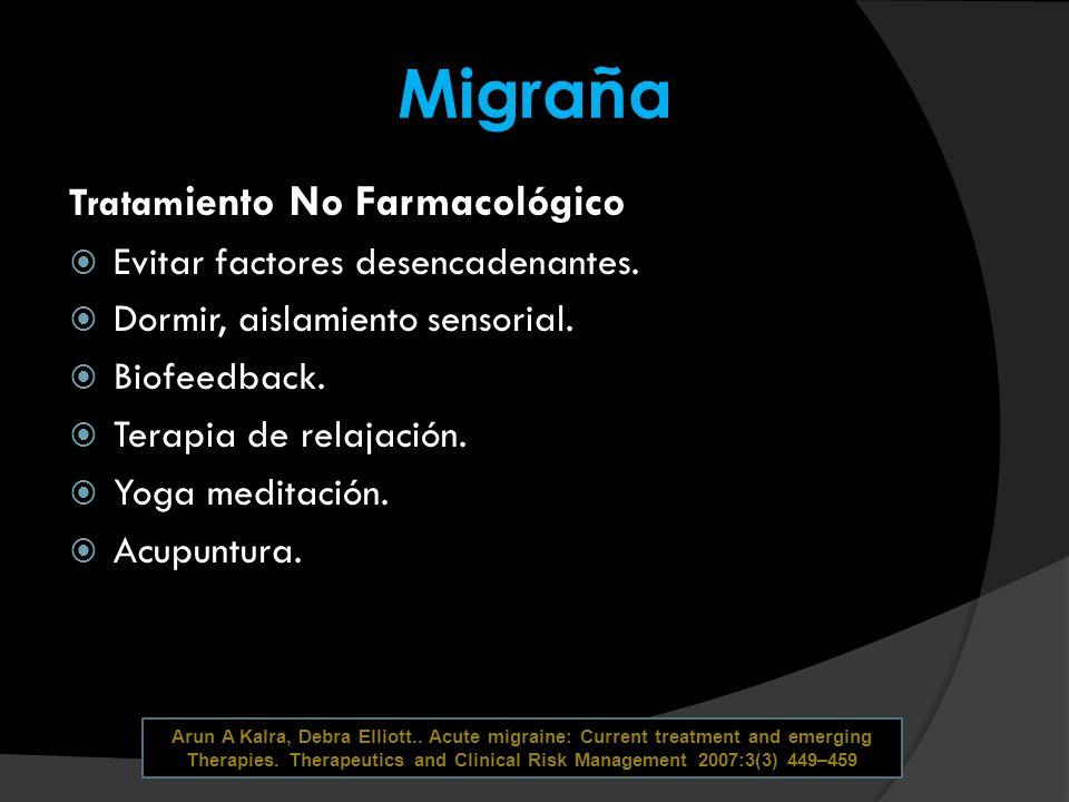 Migraña Tratam iento No Farmacológico Evitar factores desencadenantes. Dormir, aislamiento sensorial. Biofeedback. Terapia de relajación. Yoga meditac