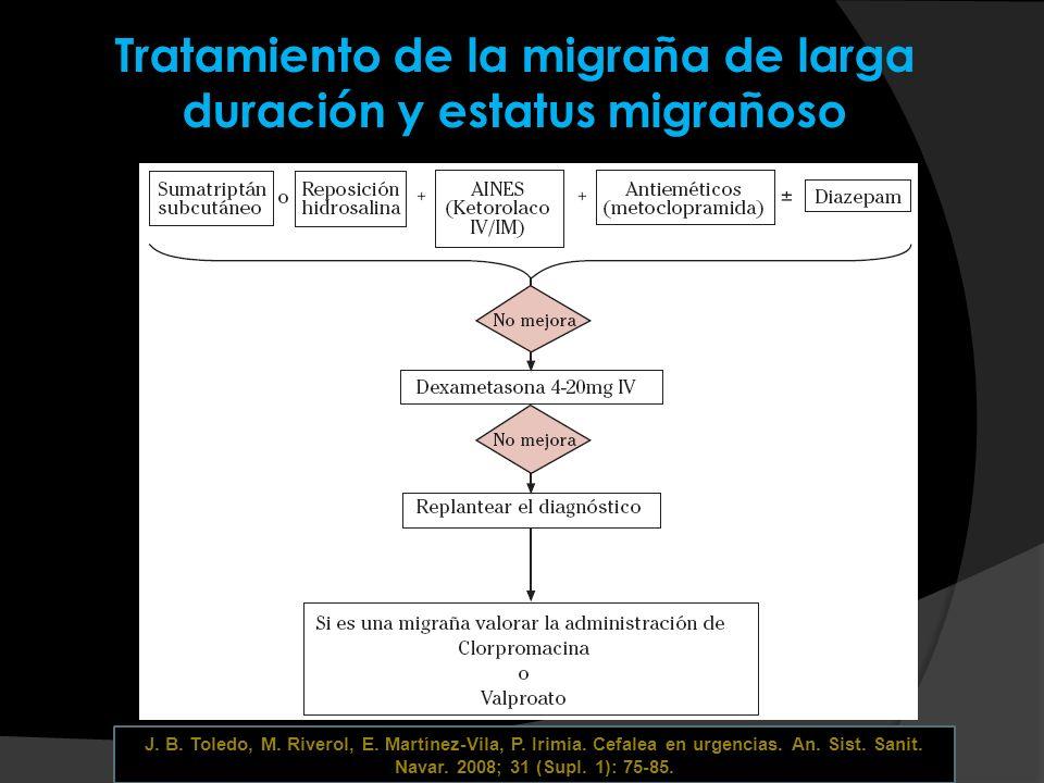 Tratamiento de la migraña de larga duración y estatus migrañoso J. B. Toledo, M. Riverol, E. Martínez-Vila, P. Irimia. Cefalea en urgencias. An. Sist.