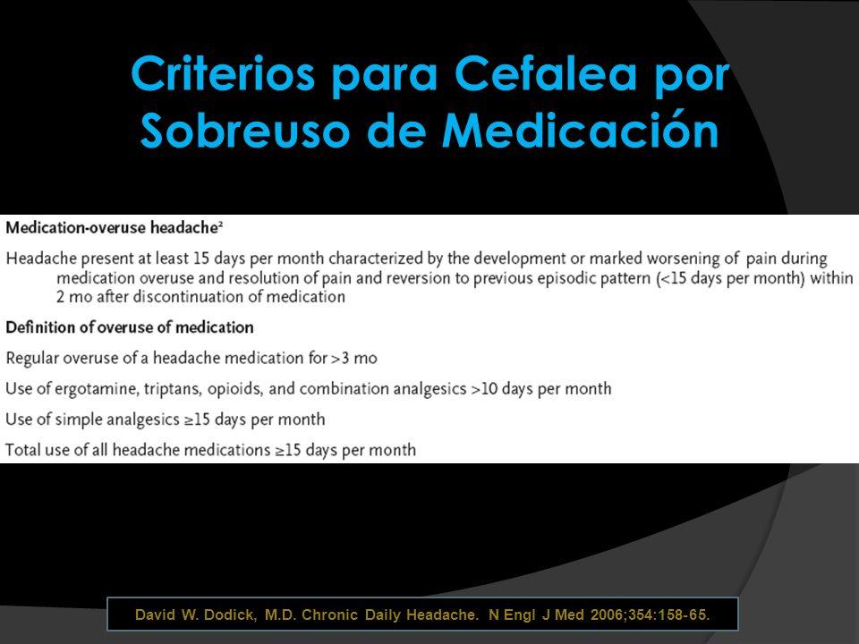 Criterios para Cefalea por Sobreuso de Medicación David W. Dodick, M.D. Chronic Daily Headache. N Engl J Med 2006;354:158-65.