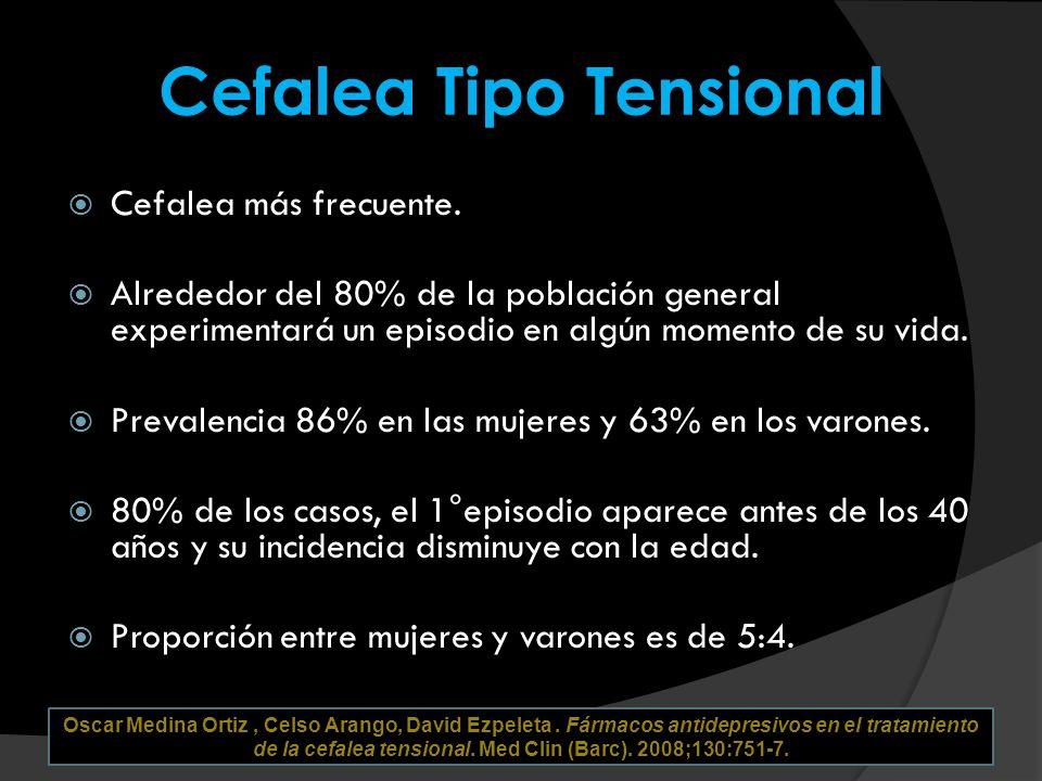 Cefalea Tipo Tensional Cefalea más frecuente. Alrededor del 80% de la población general experimentará un episodio en algún momento de su vida. Prevale