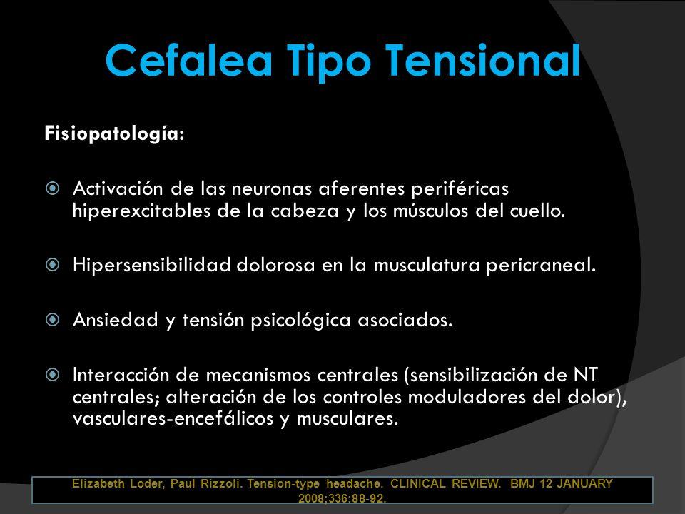 Cefalea Tipo Tensional Fisiopatología: Activación de las neuronas aferentes periféricas hiperexcitables de la cabeza y los músculos del cuello. Hipers