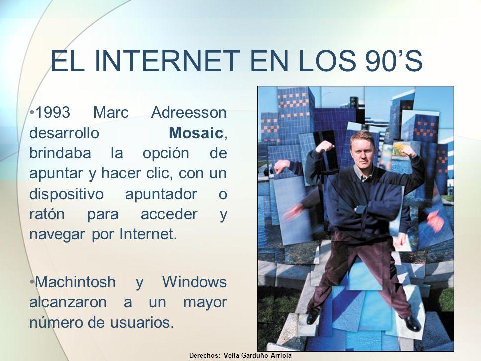 EL INTERNET EN LOS 90S 1993 Marc Adreesson desarrollo Mosaic, brindaba la opción de apuntar y hacer clic, con un dispositivo apuntador o ratón para ac