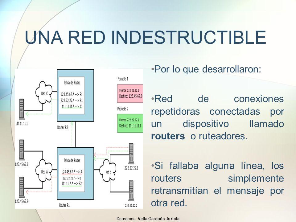UNA RED INDESTRUCTIBLE Por lo que desarrollaron: Red de conexiones repetidoras conectadas por un dispositivo llamado routers o ruteadores. Si fallaba