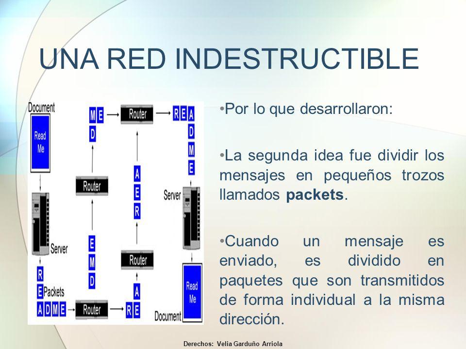 UNA RED INDESTRUCTIBLE Por lo que desarrollaron: La segunda idea fue dividir los mensajes en pequeños trozos llamados packets. Cuando un mensaje es en