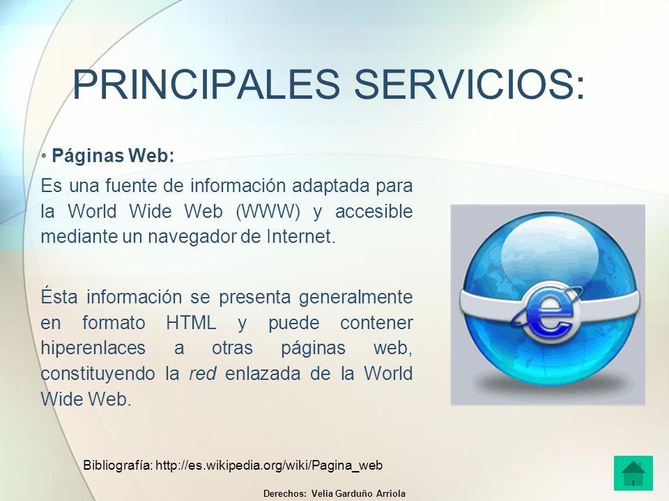 PRINCIPALES SERVICIOS: Páginas Web: Es una fuente de información adaptada para la World Wide Web (WWW) y accesible mediante un navegador de Internet.