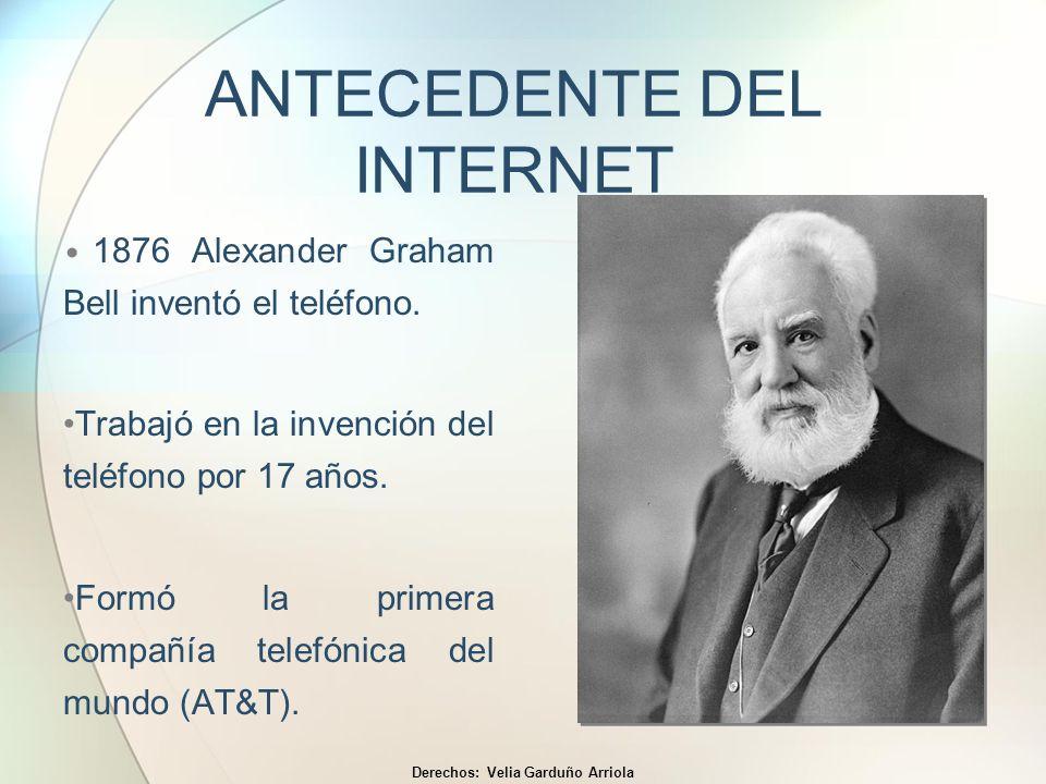 ANTECEDENTE DEL INTERNET 1876 Alexander Graham Bell inventó el teléfono. Trabajó en la invención del teléfono por 17 años. Formó la primera compañía t