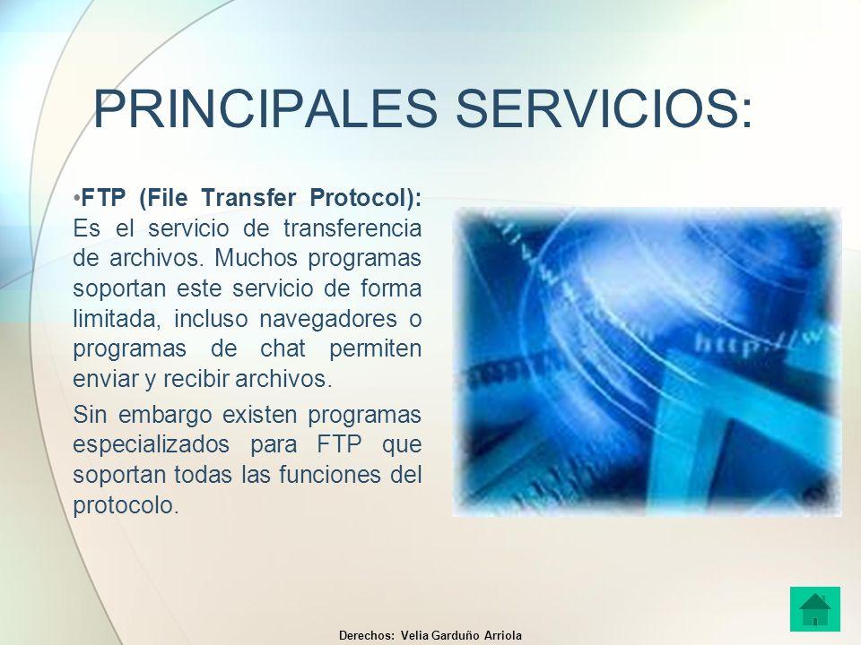 PRINCIPALES SERVICIOS: FTP (File Transfer Protocol): Es el servicio de transferencia de archivos. Muchos programas soportan este servicio de forma lim