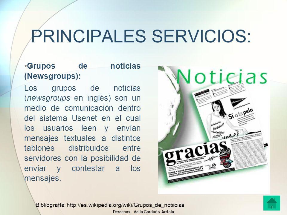 PRINCIPALES SERVICIOS: Grupos de noticias (Newsgroups): Los grupos de noticias (newsgroups en inglés) son un medio de comunicación dentro del sistema