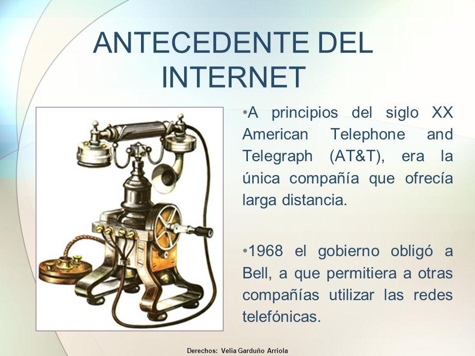 ANTECEDENTE DEL INTERNET A principios del siglo XX American Telephone and Telegraph (AT&T), era la única compañía que ofrecía larga distancia. 1968 el