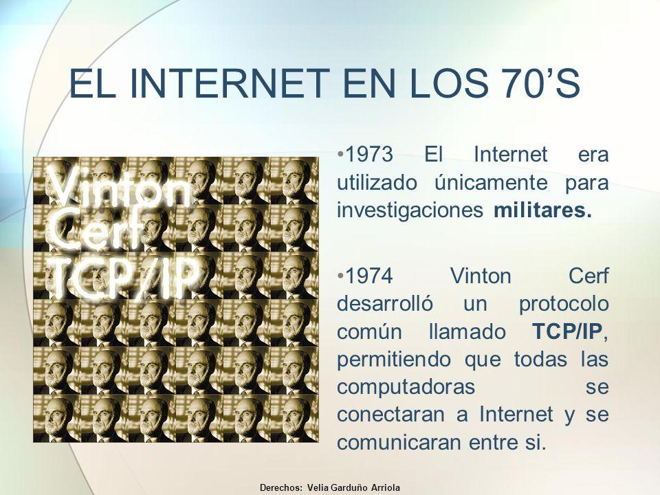 EL INTERNET EN LOS 70S 1973 El Internet era utilizado únicamente para investigaciones militares. 1974 Vinton Cerf desarrolló un protocolo común llamad