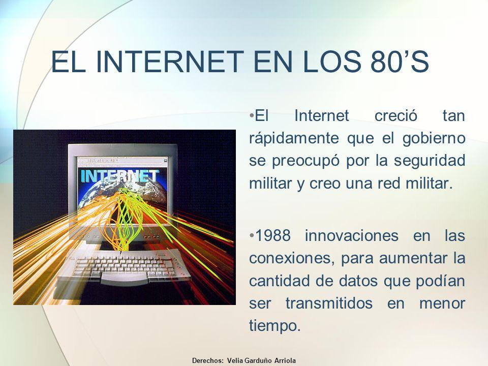 EL INTERNET EN LOS 80S A finales de los 80s Tim Berner- Lee de CERN desarrolló el concepto fundamental de la red mundial de redes; WORLD WIDE WEB.