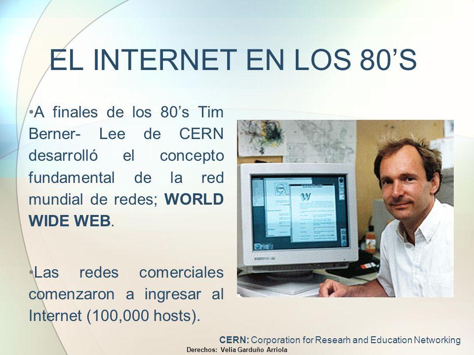 EL INTERNET EN LOS 80S A finales de los 80s Tim Berner- Lee de CERN desarrolló el concepto fundamental de la red mundial de redes; WORLD WIDE WEB. Las