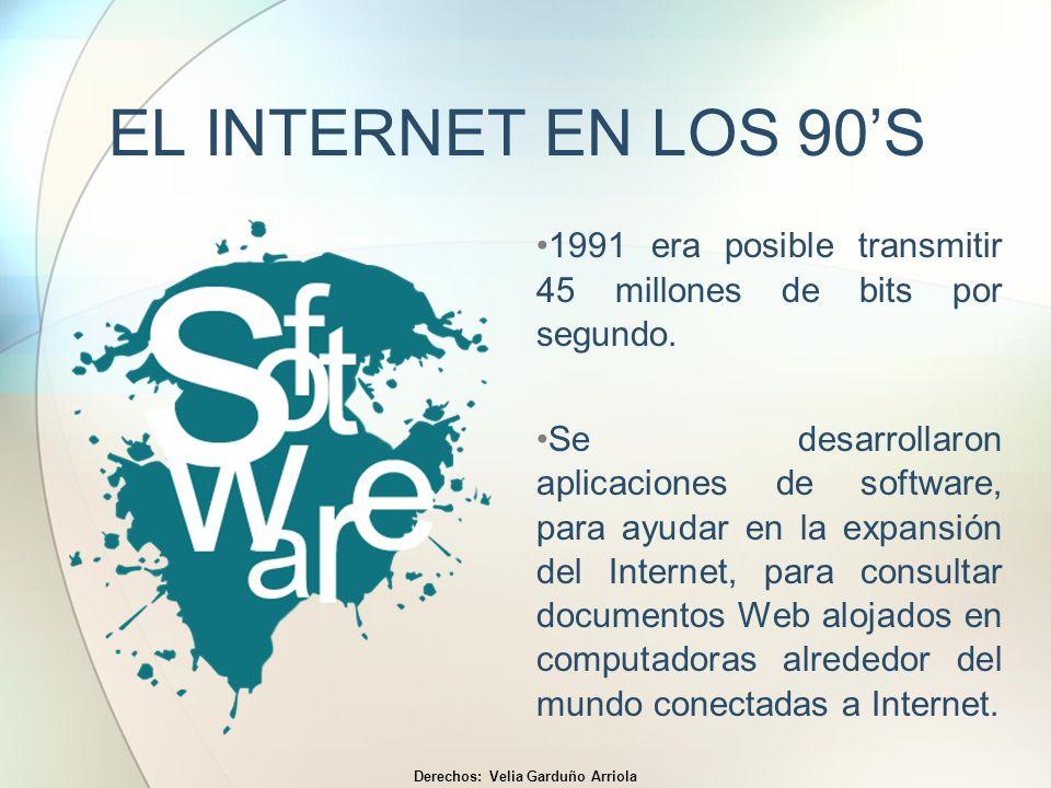 EL INTERNET EN LOS 90S 1991 era posible transmitir 45 millones de bits por segundo. Se desarrollaron aplicaciones de software, para ayudar en la expan