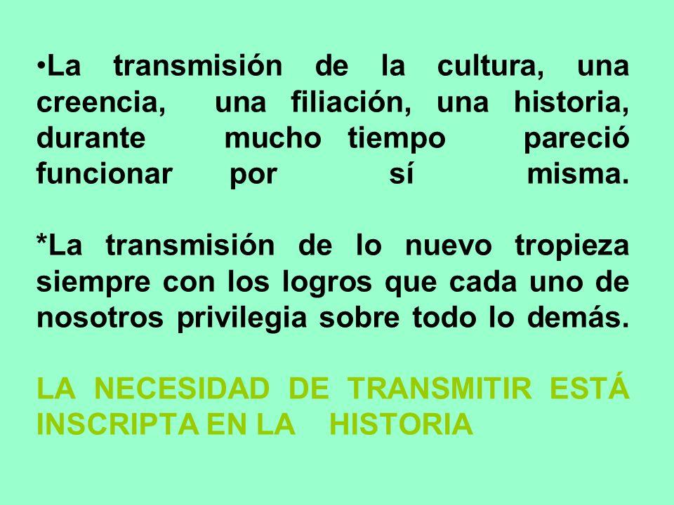 La transmisión de la cultura, una creencia, una filiación, una historia, durante mucho tiempo pareció funcionar por sí misma. *La transmisión de lo nu