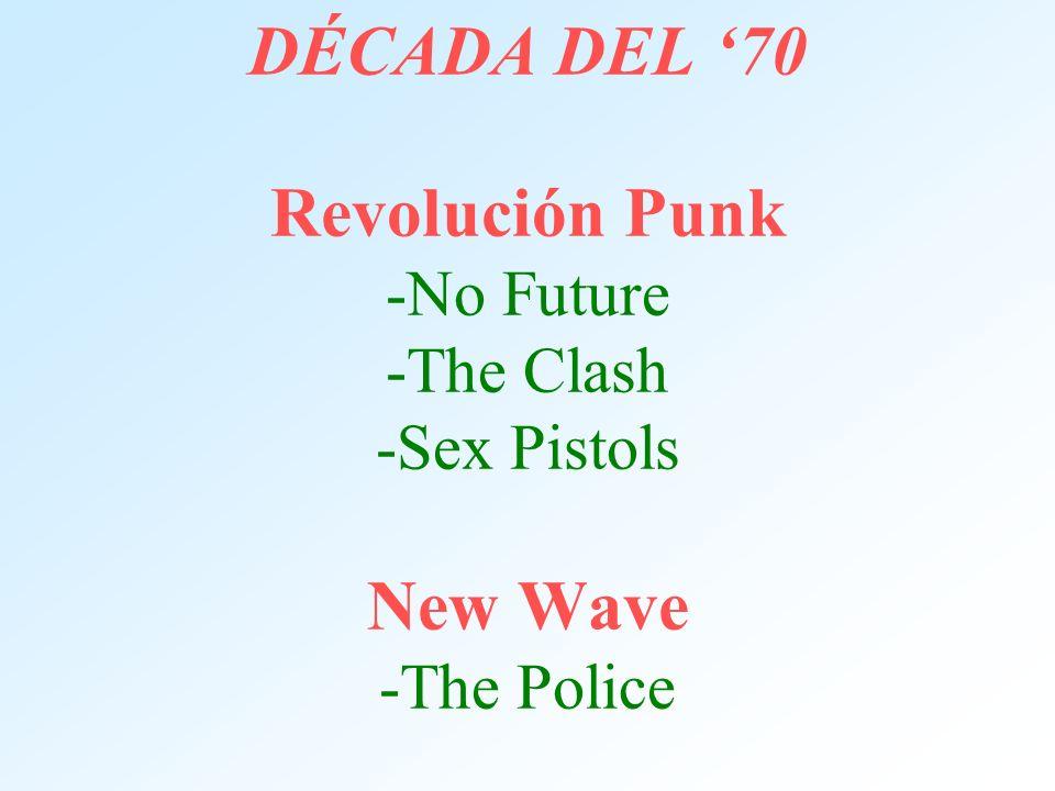 DÉCADA DEL 70 Revolución Punk -No Future -The Clash -Sex Pistols New Wave -The Police