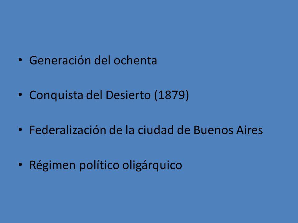 Generación del ochenta Conquista del Desierto (1879) Federalización de la ciudad de Buenos Aires Régimen político oligárquico
