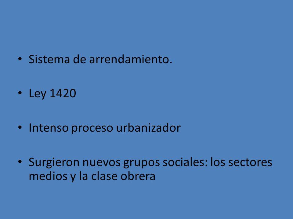 Sistema de arrendamiento. Ley 1420 Intenso proceso urbanizador Surgieron nuevos grupos sociales: los sectores medios y la clase obrera