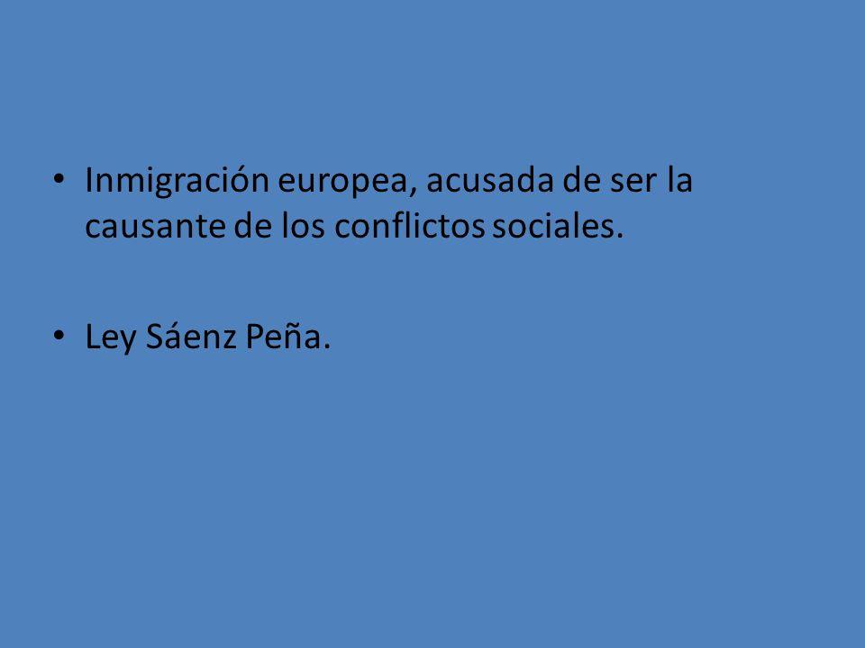 Inmigración europea, acusada de ser la causante de los conflictos sociales. Ley Sáenz Peña.