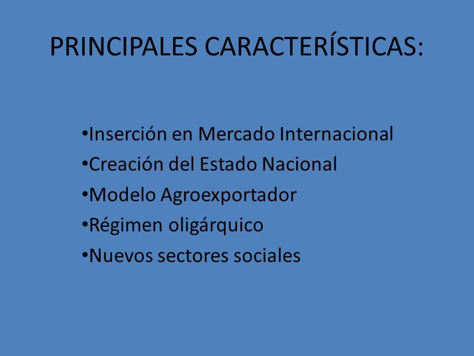 PRINCIPALES CARACTERÍSTICAS: Inserción en Mercado Internacional Creación del Estado Nacional Modelo Agroexportador Régimen oligárquico Nuevos sectores