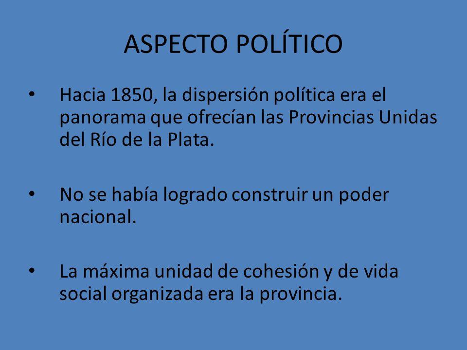 ASPECTO POLÍTICO Hacia 1850, la dispersión política era el panorama que ofrecían las Provincias Unidas del Río de la Plata. No se había logrado constr