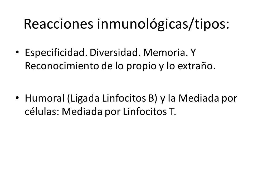 Reacciones inmunológicas/tipos: Especificidad.Diversidad.