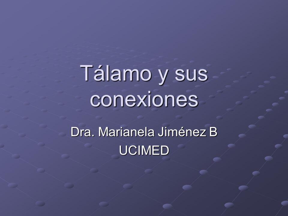 Tálamo y sus conexiones Dra. Marianela Jiménez B UCIMED