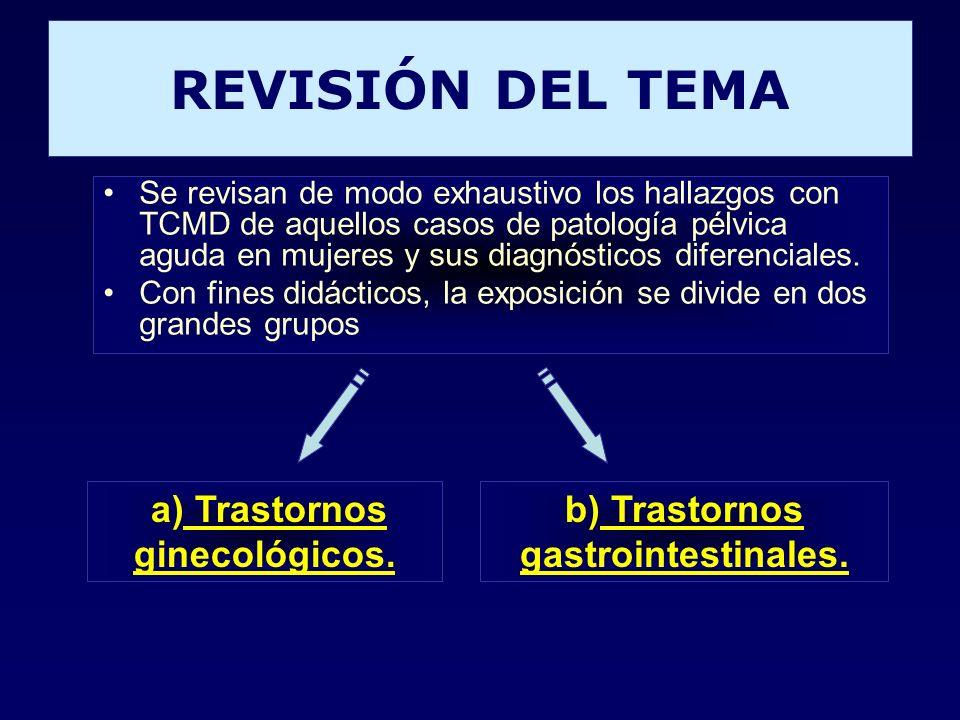 REVISIÓN DEL TEMA Se revisan de modo exhaustivo los hallazgos con TCMD de aquellos casos de patología pélvica aguda en mujeres y sus diagnósticos dife
