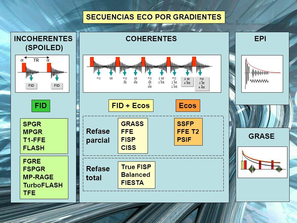 FID + EcosEcos SECUENCIAS ECO POR GRADIENTES SECUENCIAS ECO POR GRADIENTES COHERENTES GRASS FFE FISP CISS True FISP Balanced FIESTA SSFP FFE T2 PSIF R