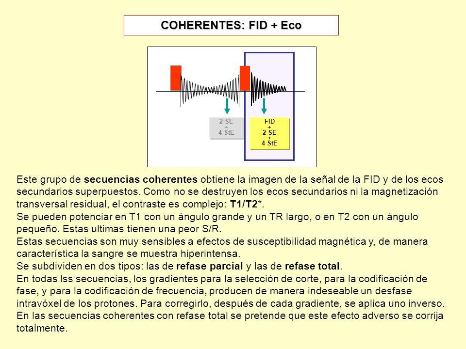 COHERENTES: FID + Eco 2 SE + 4 StE FID + 2 SE + 4 StE Este grupo de secuencias coherentes obtiene la imagen de la señal de la FID y de los ecos secund